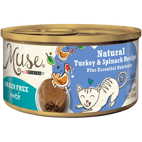 Purina Muse Natural Adult Grain Free Turkey and Spinach Recipe Pate Canned Cat Food