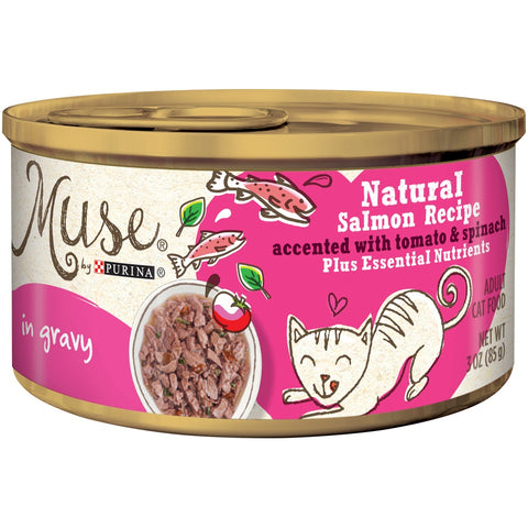 Purina Muse Natural Adult Grain Free Salmon Recipe with Tomato and Spinach in Gravy Canned Cat Food