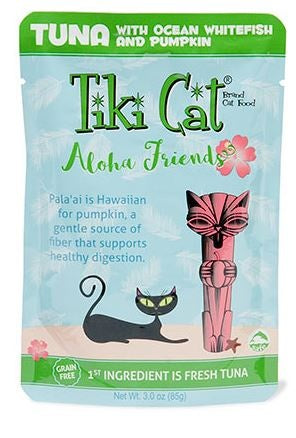 Tiki Cat Aloha Friends Grain Free Tuna with Ocean Whitefish and Pumpkin Cat Food Pouch