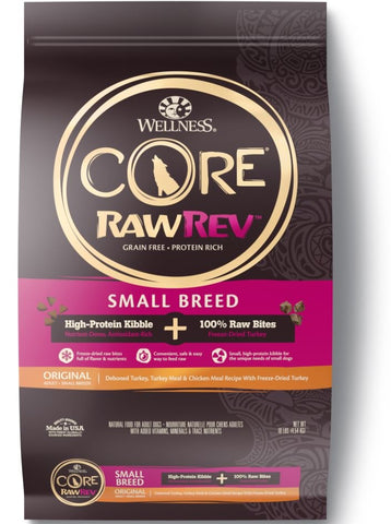 Wellness Core Raw Rev Natural Small Breed Grain Free Original Turkey and Chicken with Freeze Dried Turkey Dry Dog Food