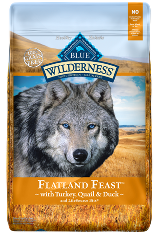 Blue Buffalo Wilderness Grain Free Flatland Feast Turkey, Quail and Duck Dry Dog Food