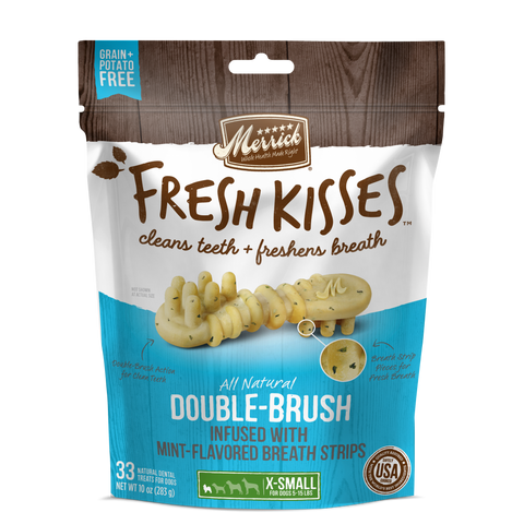 Merrick Fresh Kisses Grain Free Mint Breath Strips Extra Small Dental Dog Treats
