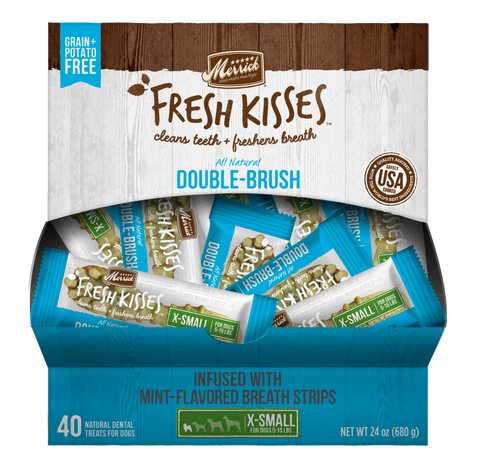 Merrick Fresh Kisses Grain Free Mint Breath Strips Extra Small Dog Treat Box