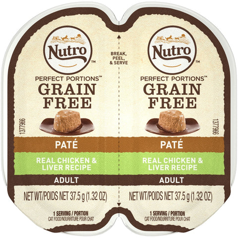 Nutro Perfect Portions Adult Grain Free Chicken and Liver Pate Wet Cat Food Trays