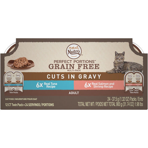 Nutro Perfect Portions Grain Free Tuna and Salmon & Shrimp Cuts in Gravy Wet Cat Food Tray Variety Pack