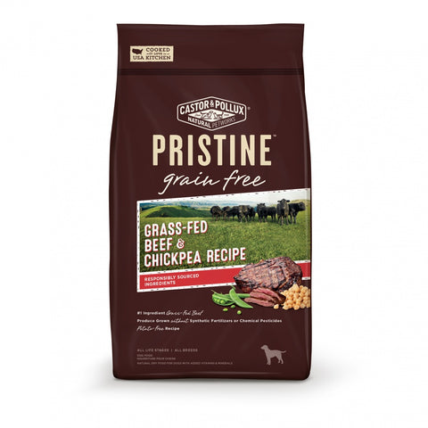 Castor and Pollux Pristine Grain Free Grass Fed Beef and Chickpea Recipe Dry Dog Food