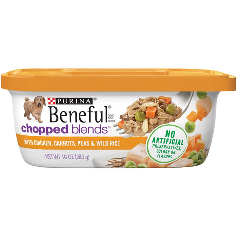 Beneful Chopped Blends With Chicken, Carrots, Peas & Wild Rice Wet Dog Food Tubs