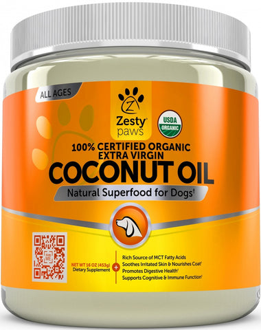 Zesty Paws 100% Certified Organic Extra Virgin Coconut Oil for Dogs