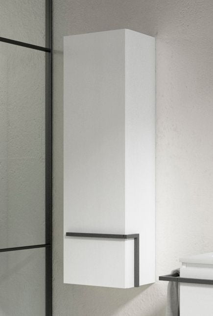 Lucena Bath White Scala tall Unit With Left Side Door - Stellar Hardware and Bath
