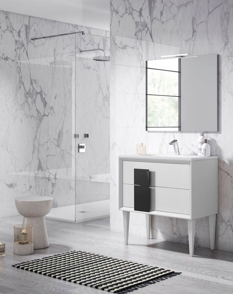 "Lucena Bath 32"" White and Black Cristal Freestanding Vanity - Stellar Hardware and Bath"