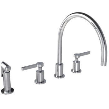 "Lefroy Brooks K1-3601  Kafka (2010) 4-Hole Kitchen Mixer With Pull-Out Hand Spray  13-1/4"" H - Stellar Hardware and Bath"