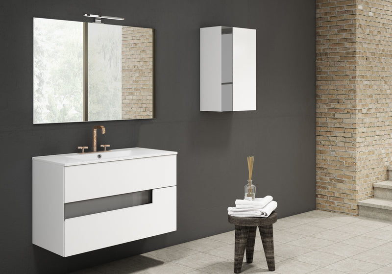 "Lucena Bath 32"" White and Black Vision Vanity - Stellar Hardware and Bath"