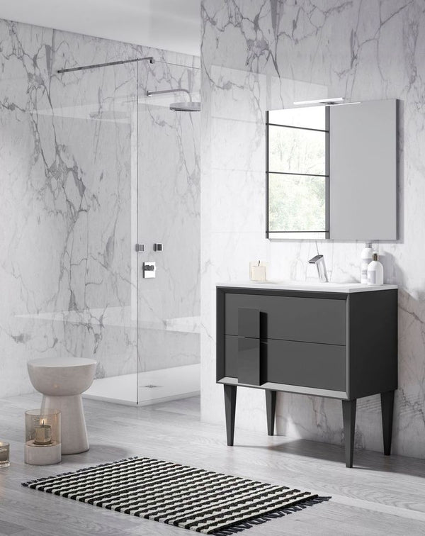 "Lucena Bath 40"" Grey Cristal Freestanding Vanity - Stellar Hardware and Bath"