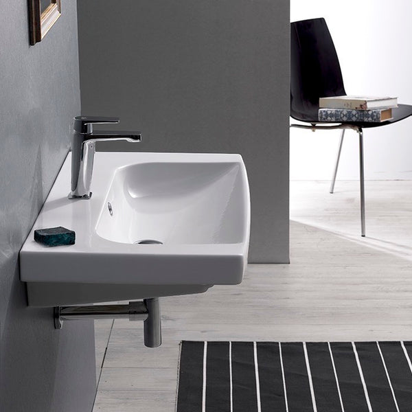 Roma Rectangle White Ceramic Wall Mounted or Drop In Sink - Stellar Hardware and Bath