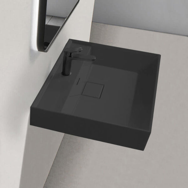 Sharp Square Matte Black Ceramic Wall Mounted or Drop In Sink - Stellar Hardware and Bath