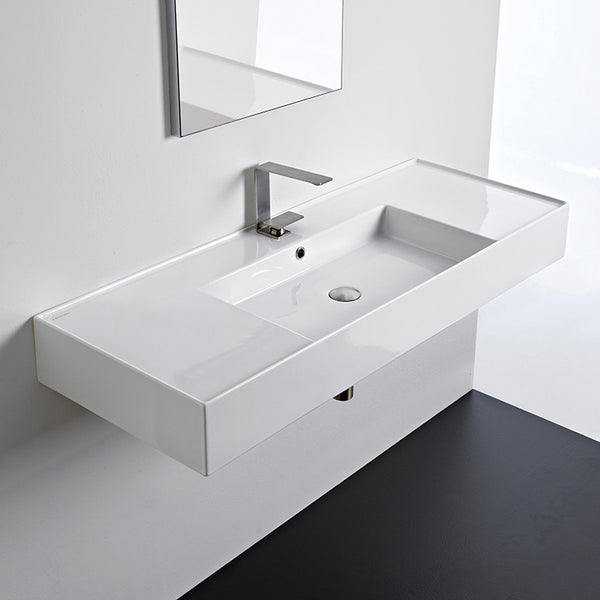 Teorema 2 Rectangular Ceramic Wall Mounted or Vessel Sink With Counter Space - Stellar Hardware and Bath