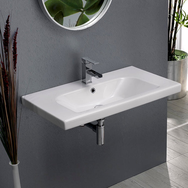 Lisboa Rectangle White Ceramic Wall Mounted or Drop In Sink - Stellar Hardware and Bath