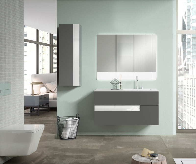 "Lucena Bath 40"" Grey and White Vision Vanity - Stellar Hardware and Bath"