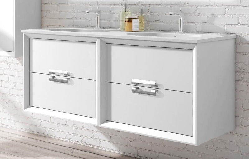 "Lucena Bath 64"" White and Silver Décor Tirador double Vanity - Stellar Hardware and Bath"