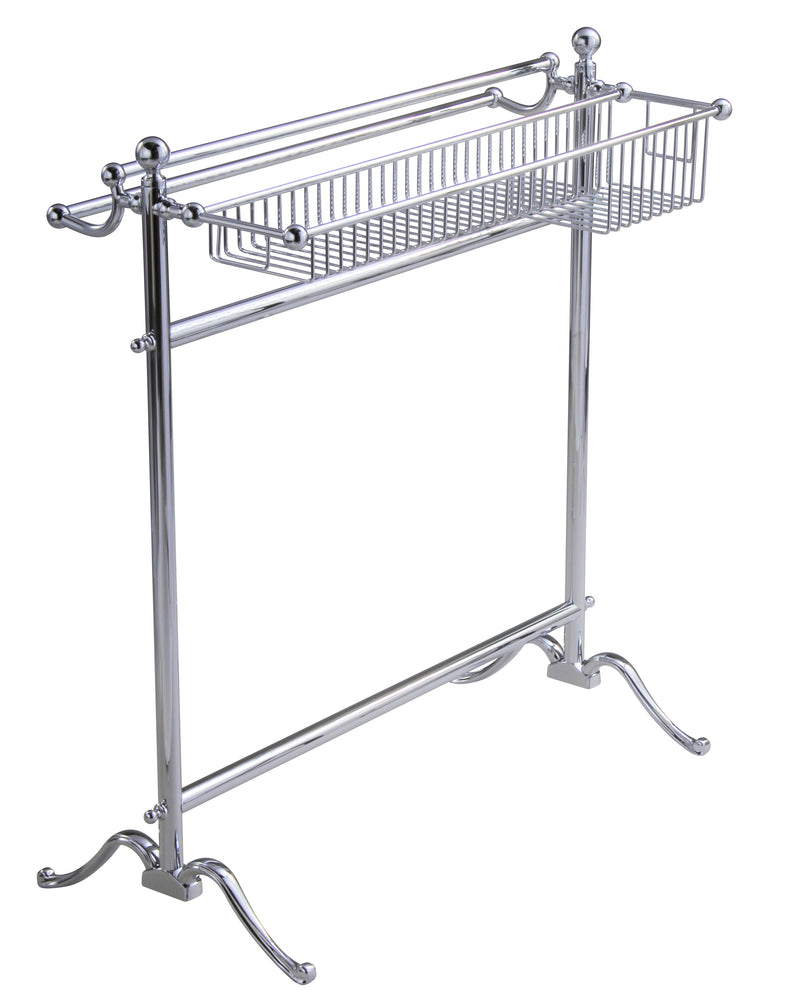 Valsan Essentials Chrome Traditional Freestanding Floor Towel Holder with Basket - Stellar Hardware and Bath