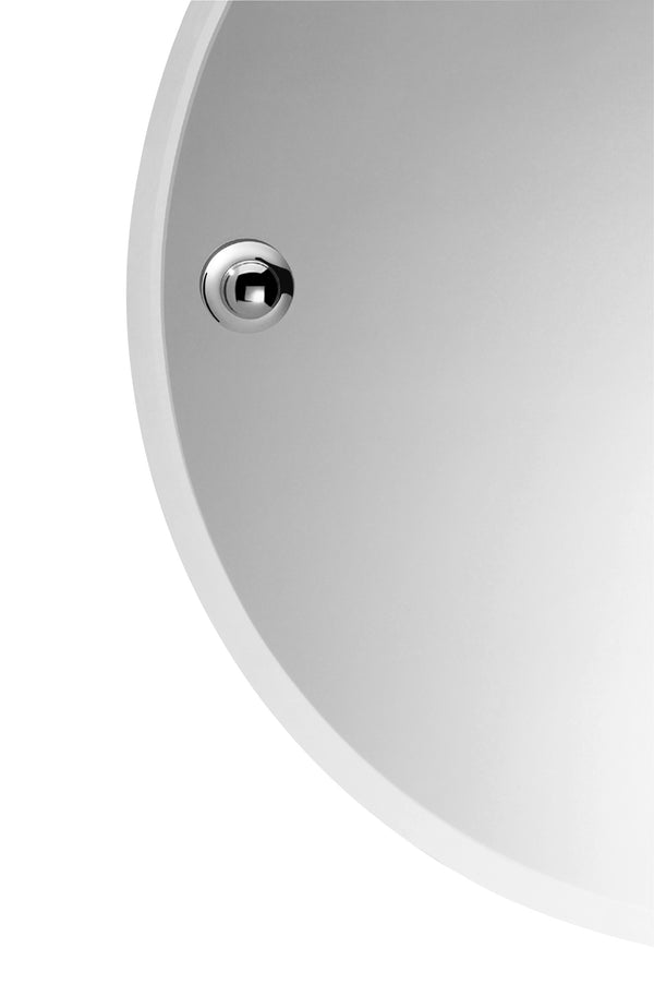 Sintra Chrome Round Mirror with Fixing Caps, 18 3/4""