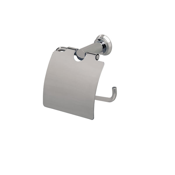 Valsan Nova Chrome Toilet Roll Holder with Lid - Stellar Hardware and Bath