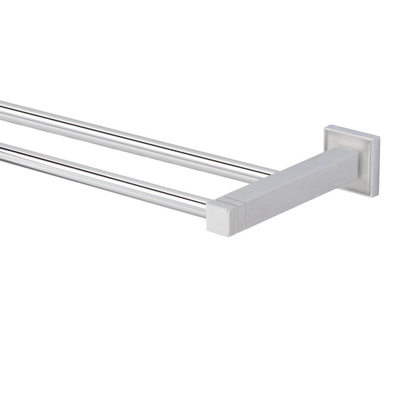Valsan Cubis-Plus Chrome Double Towel Rail, 24 1/2""