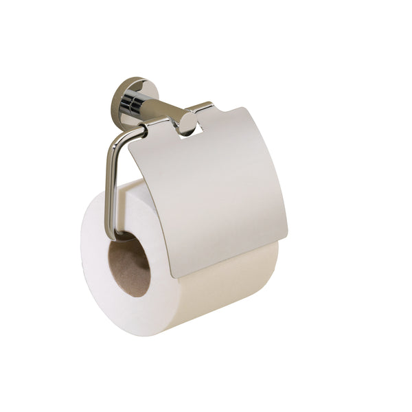 Valsan Porto Chrome Toilet Roll Holder with Lid - Stellar Hardware and Bath