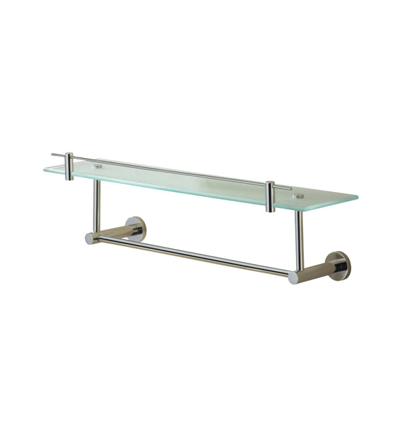 Porto Chrome Finish Glass Shelf with Under Rail, 19 3/4""