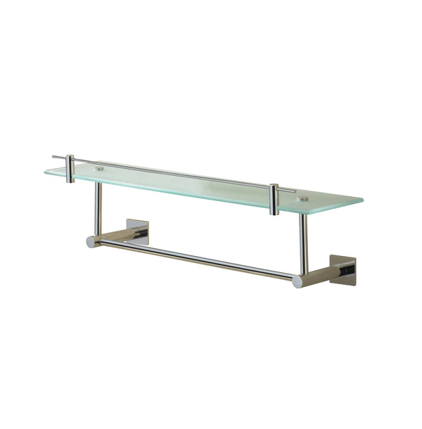 Valsan Braga Chrome Glass Shelf with Gallery and Under Rail, 23 5/8""