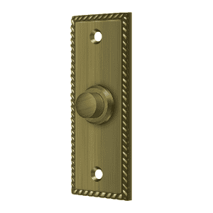 Deltana BBSR333 Rectangular Bell Button w/ Rope Pattern - 3 1/4'' x 1 1/4'' - Stellar Hardware and Bath