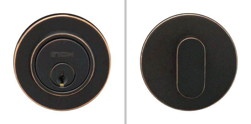 "Inox CD110B7-10B Round Single Cylinder Deadbolt, 2-1/2"" Dia, 2-3/4"" Backset, Oil Rubbed Bronze - Stellar Hardware and Bath"