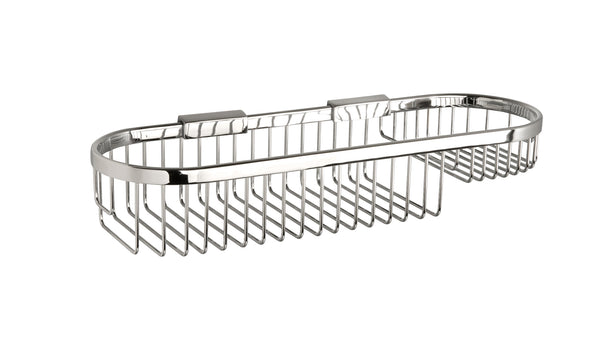 "Valsan Classic Chrome Oval Basket - Large, 4 1/2"" x 15 3/4"" - Stellar Hardware and Bath"