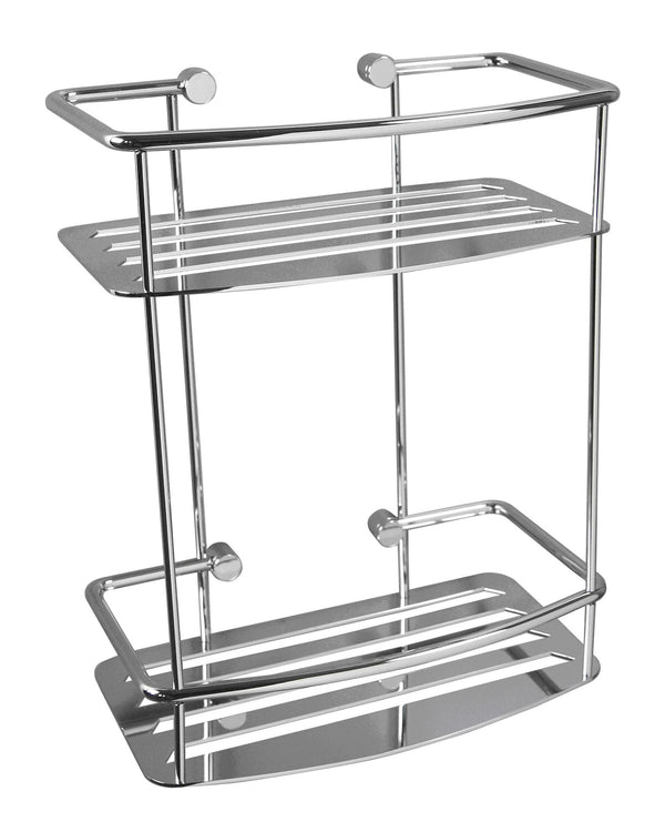 Valsan Classic Chrome Two Tier D-Shape Shower Shelf - Stellar Hardware and Bath
