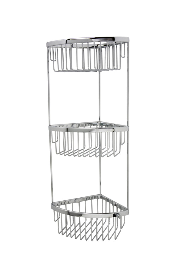 "Valsan Classic Chrome Three Tier Corner Basket,  6"" x 6"" x 21 1/4"" - Stellar Hardware and Bath"