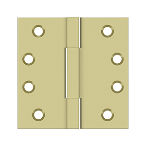 "Deltana DSBS4 Square Knuckle Hinges, Solid Brass - 4""x4"""