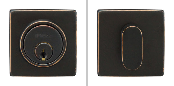 "Inox LD310B6-10B Square Single Cylinder Deadbolt, 2-3/8"" Dia, 2-3/8"" Backset, Oil Rubbed Bronze - Stellar Hardware and Bath"