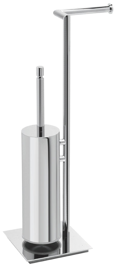 Valsan Axis Chrome Freestanding Toilet Brush with Spare Roll Holder - Stellar Hardware and Bath
