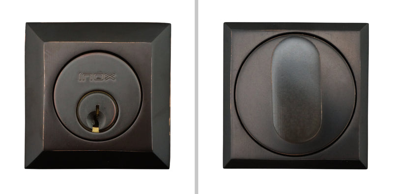 "Inox SD310B7-10B Square Single Cylinder Deadbolt, 2-3/8"" Dia, 2-3/4"" Backset, Oil Rubbed Bronze"