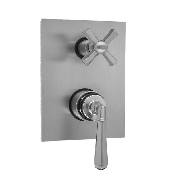 Rectangle Plate with Hex Lever Thermostatic Valve with Hex Cross Built-in 2-Way Or 3-Way Diverter/Volume Controls (J-TH34-686 / J-TH34-687 / J-TH34-688 / J-TH34-689) - Stellar Hardware and Bath