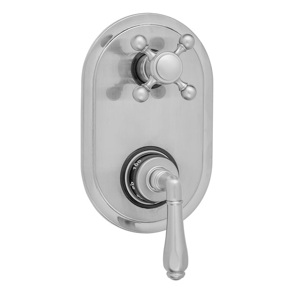 Oval Plate with Smooth Lever Thermostatic Valve with Ball Cross Built-in 2-Way Or 3-Way Diverter/Volume Controls (J-TH34-686 / J-TH34-687 / J-TH34-688 / J-TH34-689)