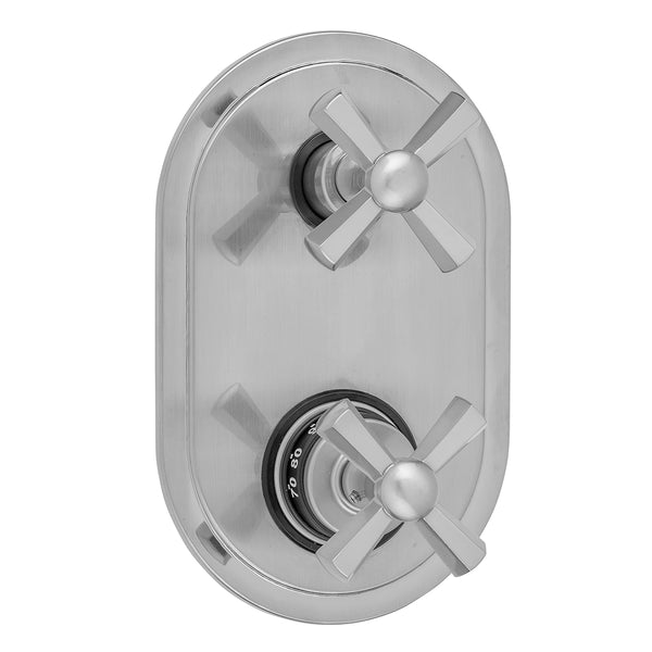 Oval Plate with Hex Cross Thermostatic Valve with Hex Cross Built-in 2-Way Or 3-Way Diverter/Volume Controls (J-TH34-686 / J-TH34-687 / J-TH34-688 / J-TH34-689)