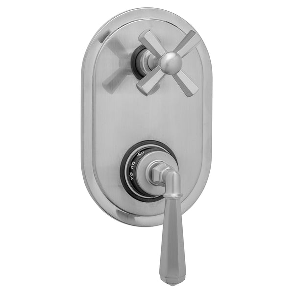 Oval Plate with Hex Lever Thermostatic Valve with Hex Cross Built-in 2-Way Or 3-Way Diverter/Volume Controls (J-TH34-686 / J-TH34-687 / J-TH34-688 / J-TH34-689) - Stellar Hardware and Bath