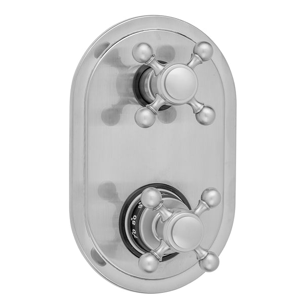 Oval Plate with Ball Cross Thermostatic Valve with Ball Cross Built-in 2-Way Or 3-Way Diverter/Volume Controls (J-TH34-686 / J-TH34-687 / J-TH34-688 / J-TH34-689) - Stellar Hardware and Bath
