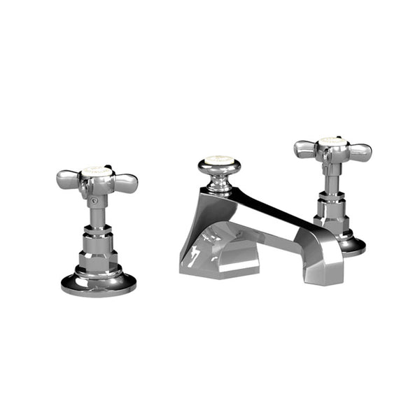 Lefroy Brooks C1-1103 Cross Handle Mackintosh 3 Hole Basin Mixer With P.U.W - Stellar Hardware and Bath