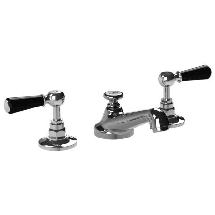 Lefroy Brooks CB-1050 Classic 3 Hole Basin Mixer With Black Levers & P.U.W - Stellar Hardware and Bath