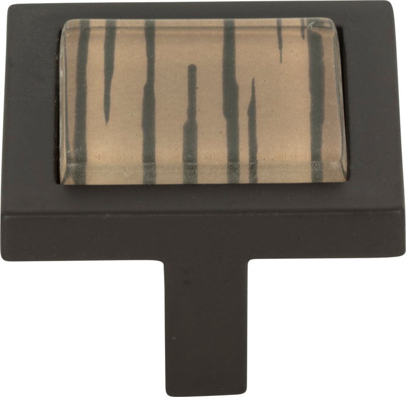 Atlas Spa Brown Tiger Square Knob 1 3/8 Inch - Stellar Hardware and Bath