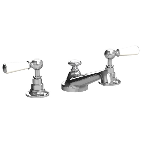 Lefroy Brooks CW-1050 3 Hole Basin Mixer With White Levers & P.U.W - Stellar Hardware and Bath
