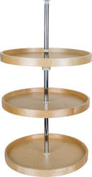 "18"" Round Banded Lazy Susan Three Shelf Set  with Twist and Lock Pole - Stellar Hardware and Bath"