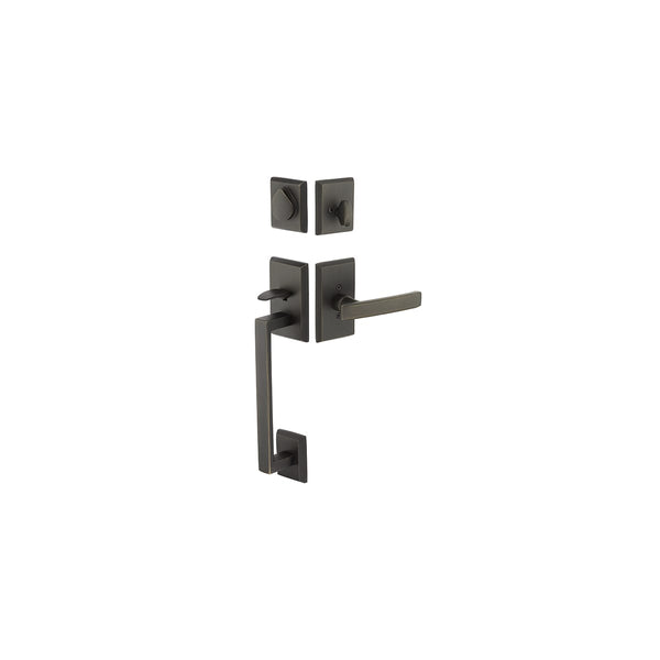 Emtek 452421  Rustic Modern Rectangular Sectional Double Cylinder Keyed Entry Handleset from the Sandcast Bronze Collection Model: 452421MB